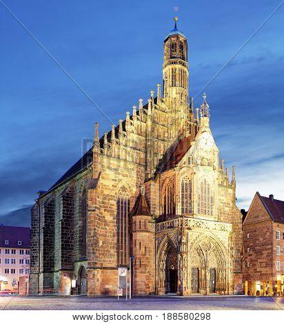 Hauptmarkt with Frauenkirche church andmarketplace in Nuremberg Bavaria Germany.
