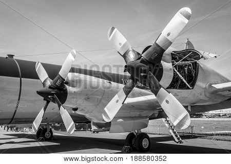 BERLIN GERMANY - MAY 21 2014: Engines Allison T56-A-14 of the four-engine turboprop anti-submarine and maritime surveillance aircraft Lockheed P-3C Orion. German Navy. Black and White. Exhibition ILA Berlin Air Show 2014