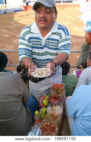 Nuts Stadium Salesman At A Bullfight In Valladolid, Mexico