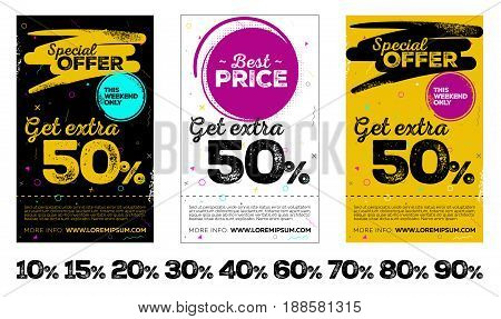 Set of Vertical Sale Posters. Background with Grunge Texture and Memphis Pattern. Special Offer Tag This Weekend Only Label. Vector Template for Shop Market Flyer Banner Advertising.
