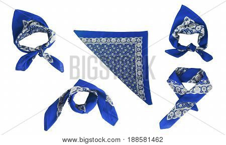 Blue, Light Blue Kerchief-bandana With A Pattern, Isolated