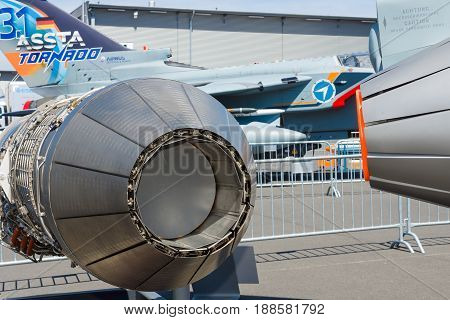 BERLIN GERMANY - MAY 21 2014: A military turbofan Eurojet EJ200 used as the powerplant of the multirole fighter Eurofighter Typhoon. Exhibition ILA Berlin Air Show 2014