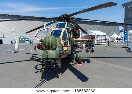 BERLIN GERMANY - MAY 21 2014: Attack helicopter TAI-AgustaWestland T129 ATAK. Turkish Air Force. Exhibition ILA Berlin Air Show 2014