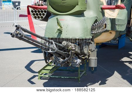 BERLIN GERMANY - MAY 21 2014: Armament of attack helicopter TAI-AgustaWestland T129 ATAK. Turkish Air Force. Exhibition ILA Berlin Air Show 2014