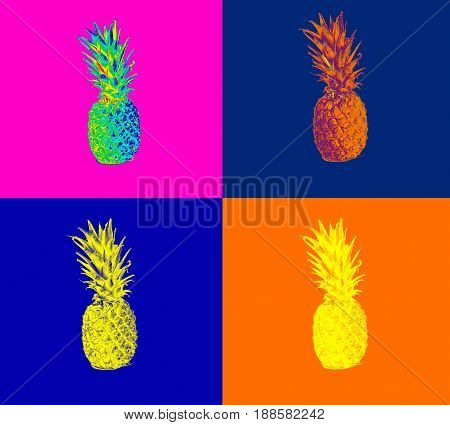 ripe pineapple on white background, pineapple on isolated background. juicy fruit with a bright feed stylizen
