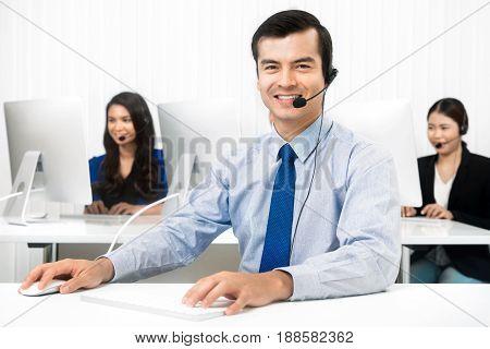 Customer service staffs (telemarketers) in call center