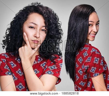 Young woman with black hair before and after straightening over gray background
