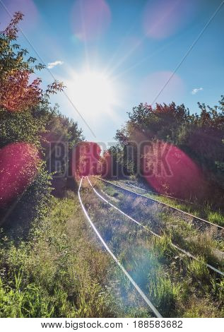 Railway goes to the horizont in the forest, big bright sun in the sky with lens effects. Old railroad in the grass among lot of trees. Rural landscape.