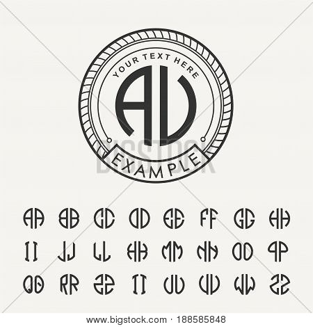 Modern emblem, badge, template. Luxury elegant frame ornament line logo design vector illustration. And set to create monograms of two letters in scribed in a circle