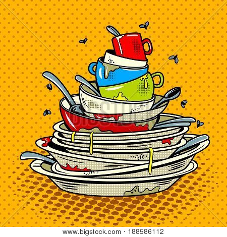 Dirty dishes comic book pop art retro style vector illustratoin