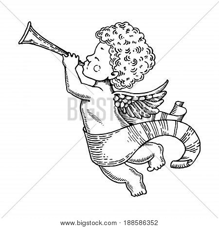 Angel baby with horn engraving vector illustration. Scratch board style imitation. Hand drawn image.