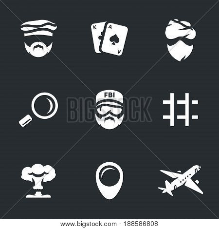 Criminal, playing cards, thief, magnifier, cop, prison, explosion, pointer, plane.