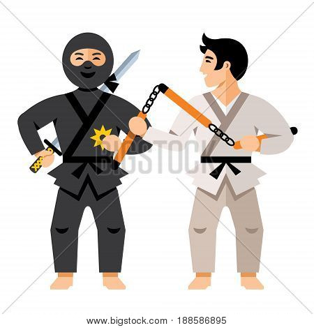 Ninja fighter and Karate Athlete. Isolated on a White Background