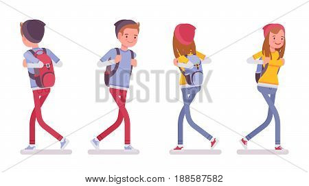 Teenager boy and girl wearing cute beanie and urban messenger rucksack, casual slim fit, smiling, walking pose, front, rear view, vector flat style cartoon illustration, isolated, white background