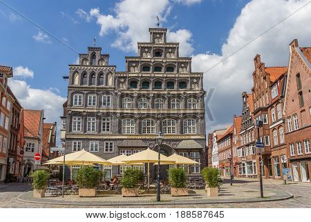 LUNEBURG, GERMANY - MAY 21, 2017: Chamber of Commerce at the central square of Luneburg, Germany