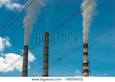 Thermal power stations and power lines. Distribution electric substation.