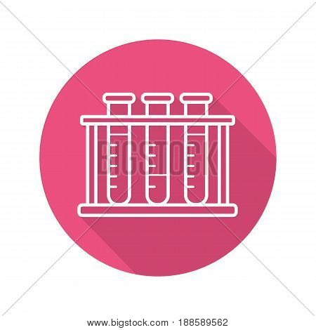 Test tubes rack. Flat linear long shadow icon. Chemical laboratory equipment. Vector line symbol