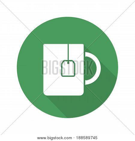 Tea mug flat linear long shadow icon. Cup with teabag label. Vector line symbol