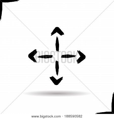 Delivery symbol icon. Drop shadow direction symbol. Four arrows. Ink brush stroke. Vector isolated illustration