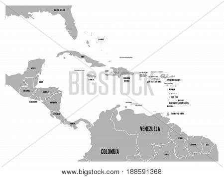 Central America and Carribean states political map in grey with black country names labels. Simple flat vector illustration.