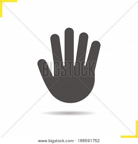 Palm glyph icon. Drop shadow silhouette symbol. Stop, greeting and high five gesture. Negative space. Vector isolated illustration