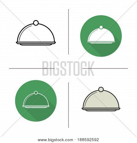 Covered dish icon. Flat design, linear and color styles. Restaurant food serving dish platter with lid. Isolated vector illustrations