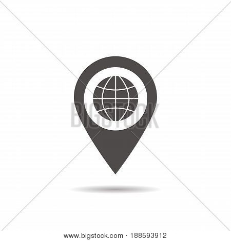 Nearby internet cafe location glyph icon. Drop shadow map pointer silhouette symbol. Cybercafe pinpoint. Vector isolated illustration