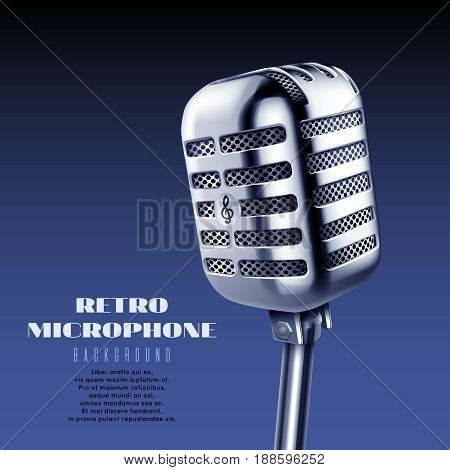Realistic vintage steel concert or studio microphone vector illustration. Radio retro microphone, audio equipment technology