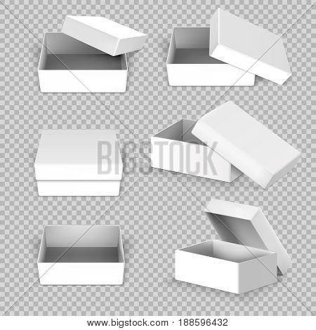 White empty square open box in different positions vector set. Carton square box, illustration of cardboard box open