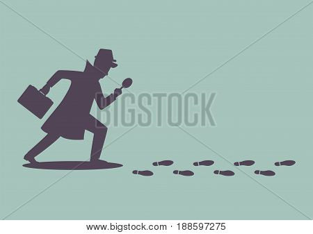 Silhouette of detective investigate is following footprints. Vector illustration