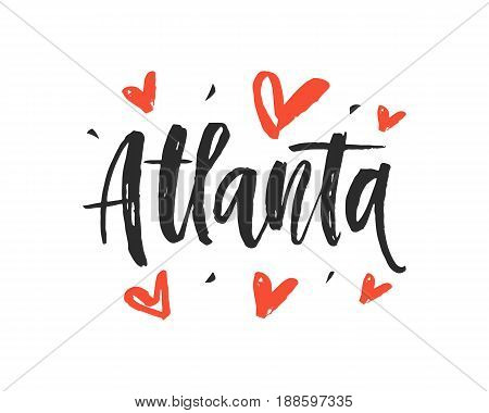 Atlanta. Modern city hand written brush lettering, isolated on white background. Ink calligraphy. Tee shirt print, typography card, poster design. Vector illustration.