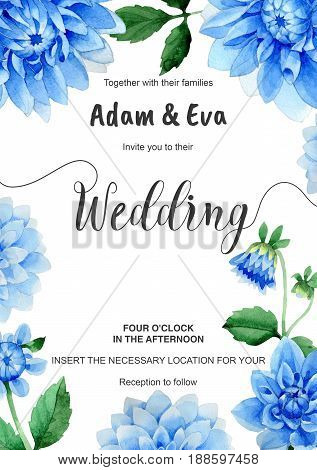 Wedding invitation DiY template dahlia handmade watercolor illustration. Aquarelle romantic wedding templates for save the date, invitation, rsvp, direction, place cards, accommodation or reception.