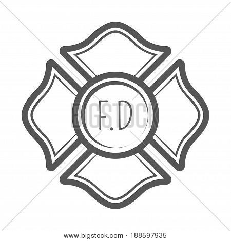 Cross firefighter vector illustration in monocrome vintage style. Design elements for logo, label, emblem.
