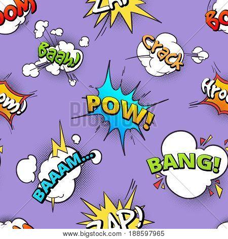 Seamless pattern of cartoon comic speech bubbles with different sounds. Retro bubble sound speech, illustration of comic cartoon cloud