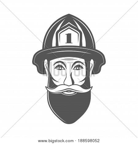 Hipster man in fireman hat vector illustration in monocrome vintage style. Design elements for logo, label, emblem.