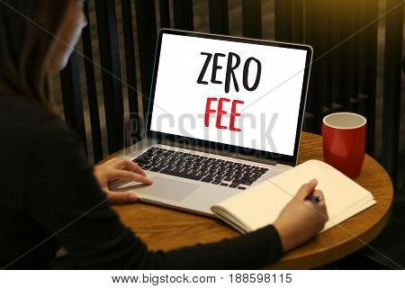 Zero Fee Businessman Working With Calculator And Document Data