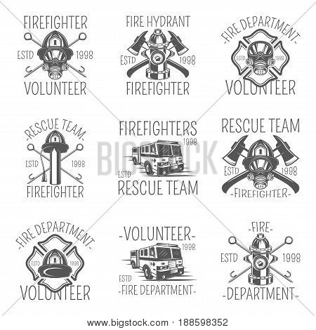 Set of firefighter in monochrome style logos, emblems, labels and badges. Set of vector templates isolated on white background
