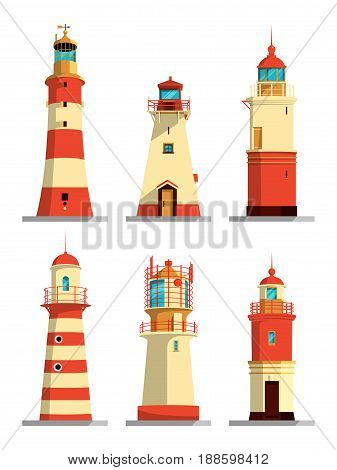 Lighthouses in different styles. Vector cartoon illustrations set. Navigation lighthouse, sea beacon light