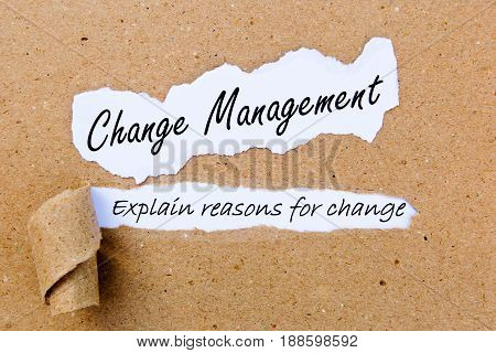 Change - Explain reasons for Change - successful strategies for change