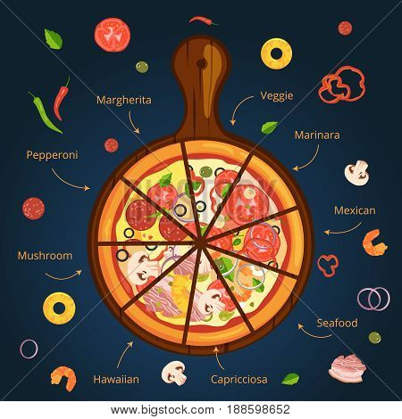 Different ingredients of classical italian pizza. Delicious food illustration. Vector infographics. Ingredient for italian pizza