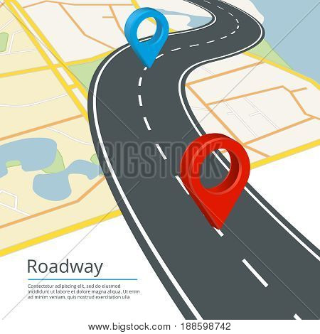 Infographic vector concept of different map directions. Navigations on road. Map travel road street with navigation gps illustration