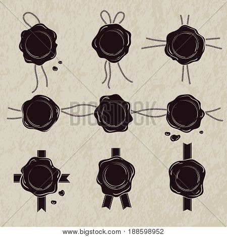 Monochrome set of wax seals. Vector illustrations isolate on white background. Wax stamp, for mail, or certificate label