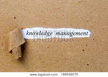 Knowledge Management - printed text underneath torn brown paper