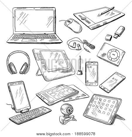 Different computer gadgets. Doodle vector illustrations isolate on white. Gadget sketch drawing, electronic laptop and video camera