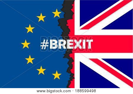 Brexit hashtag two parts of flags, metadata tag for social network and microblogging, British exit decision. Vector flat style illustration.