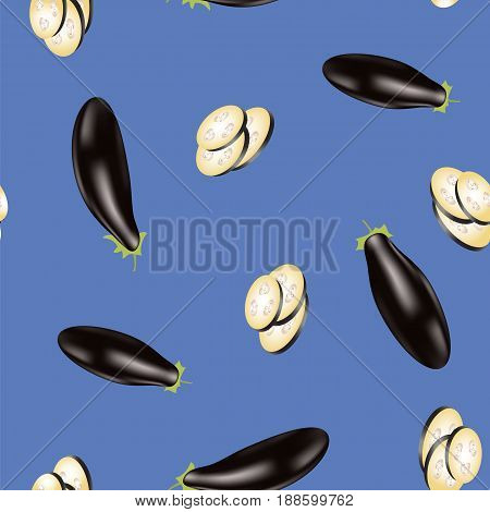 Eggplant Seamless Pattern Isolated on Blue Background