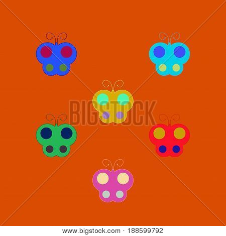 Butterfly sign set. Colorful insect simple symbol. Multicolor icons isolated on orange background. Flat mark. Spring or summer love concept. Modern art scoreboard. Stock vector illustration