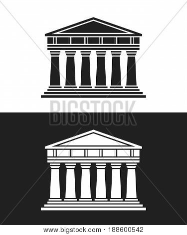 Parthenon architecture greek temple icon isolated on white background. Vector illustration flat architecture design. Building ancient monument symbol icon. Column pillar parthenon landmark
