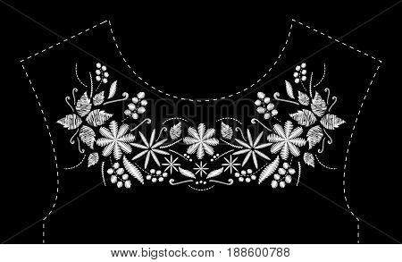 Satin stitch embroidery design with flowers. Folk line floral trendy pattern for dress neckline. Ethnic black and white fashion ornament for neck on black background