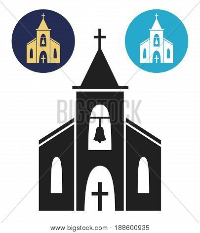 Church icon isolated on white background. Vector illustration for religion architecture design. Cartoon church building silhouette with cross, chapel, bell. Catholic holy traditional symbol.